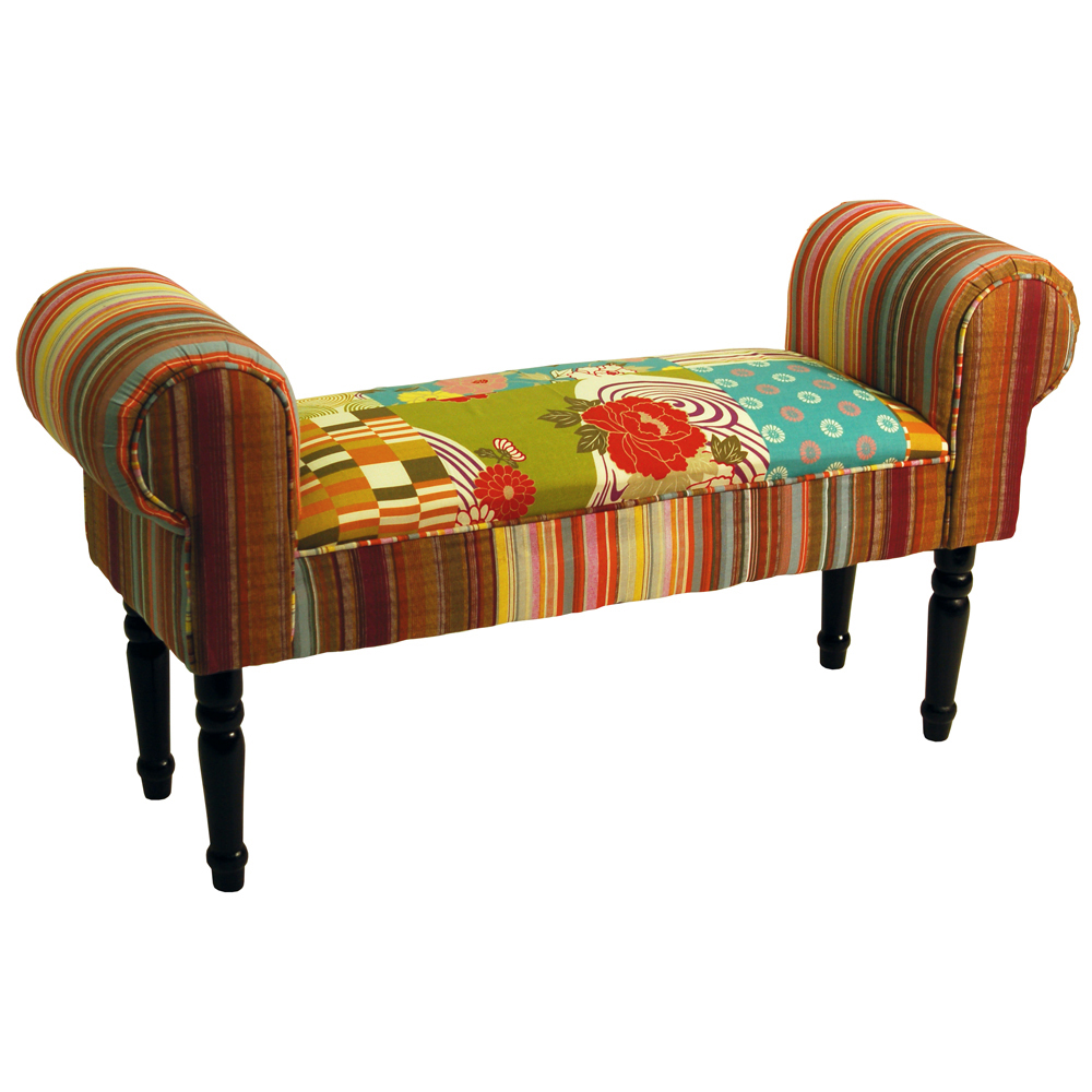 Patchwork shabby chic chaise pouffe padded stool wood for Chaise patchwork
