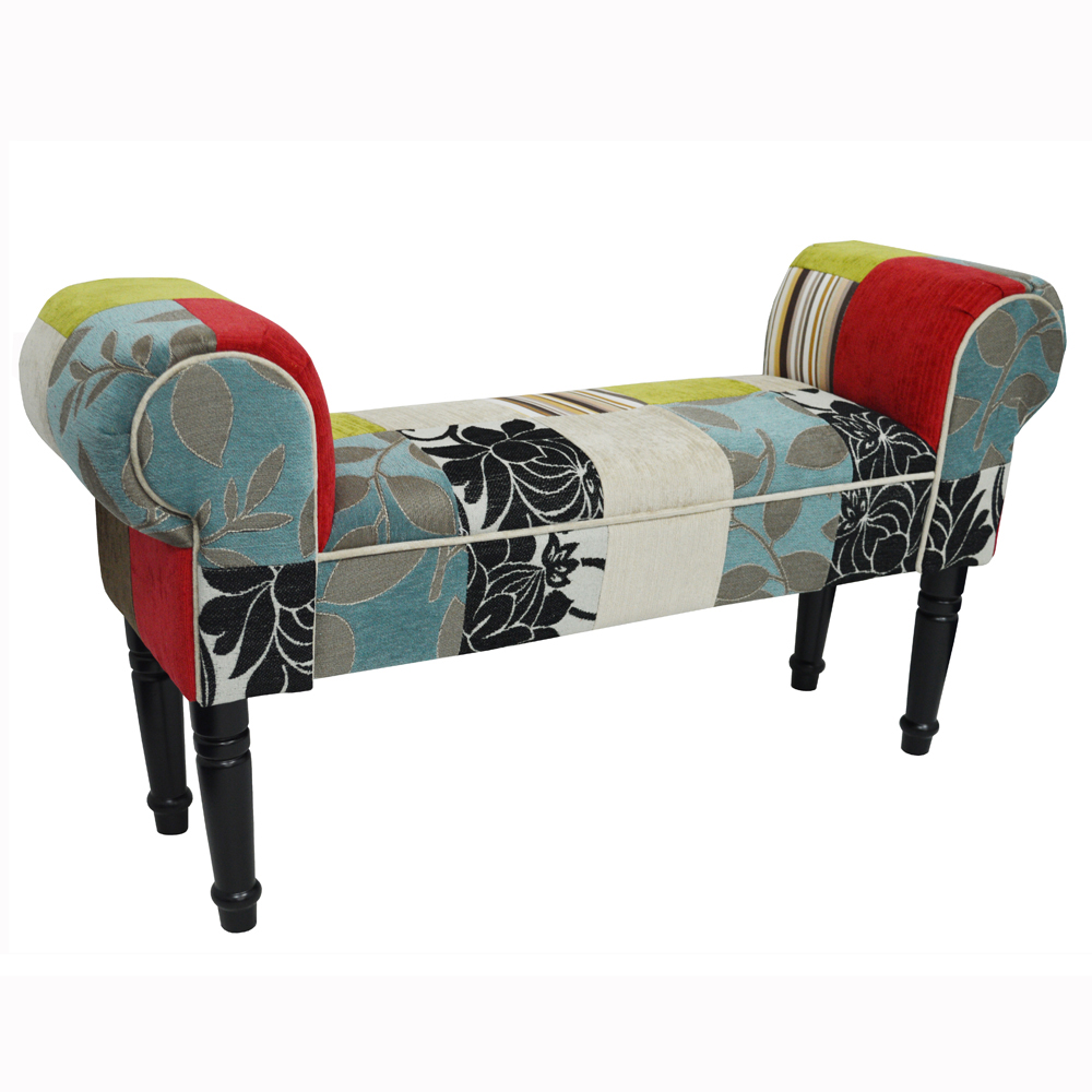 plush patchwork shabby chic chaise pouffe stool wood legs blue green red watson 39 s on. Black Bedroom Furniture Sets. Home Design Ideas