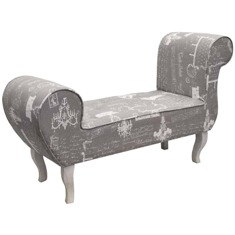 Parisian lounger bench padded chaise chair grey for Chaise bench storage