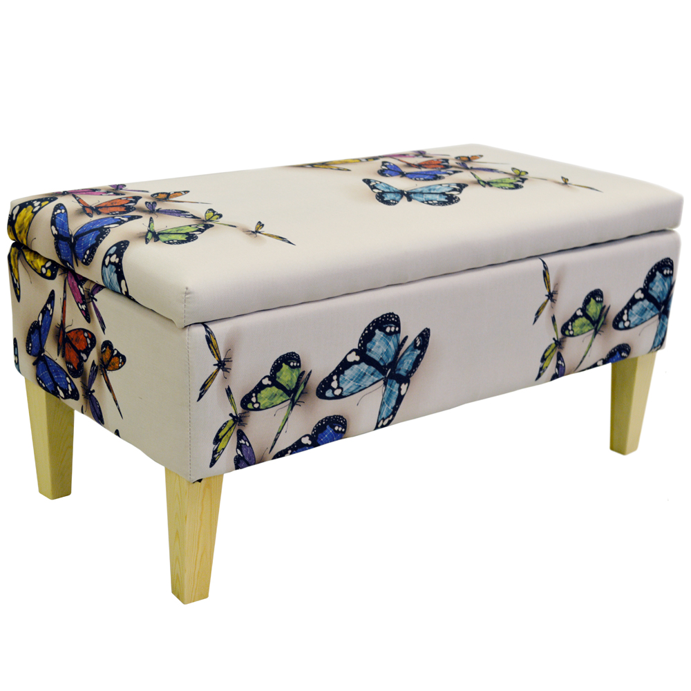 Click here to englarge image - BUTTERFLY - Storage Ottoman Stool / Blanket Box / Padded Trunk
