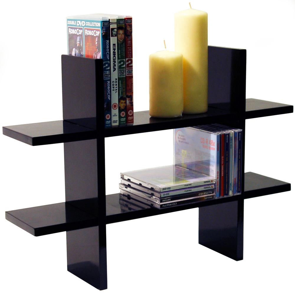 geo wall mounted floating storage display shelf black watson 39 s on the web furniture. Black Bedroom Furniture Sets. Home Design Ideas