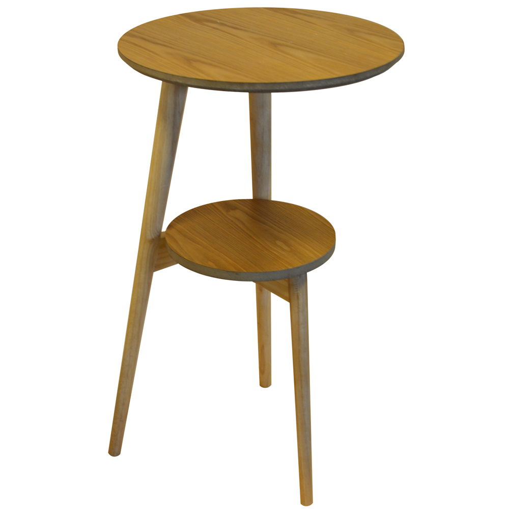 ORION Retro Solid Wood Tripod Leg Round Table with Shelf