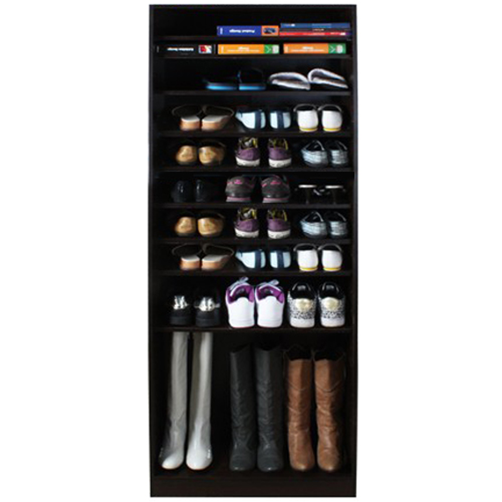 micro open 10 tier shoe boot storage shelf walnut