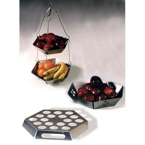 Mode steel kitchen set fruit bowl with hanging tidy for Egg tray wall hanging