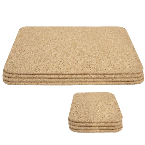 Cork rectangular placemats and square coasters set of for Small square placemats