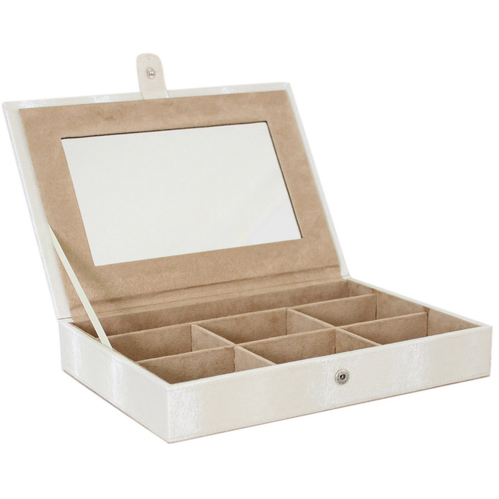 Satin luxury single tier jewellery box watch storage for Mirror jewellery box