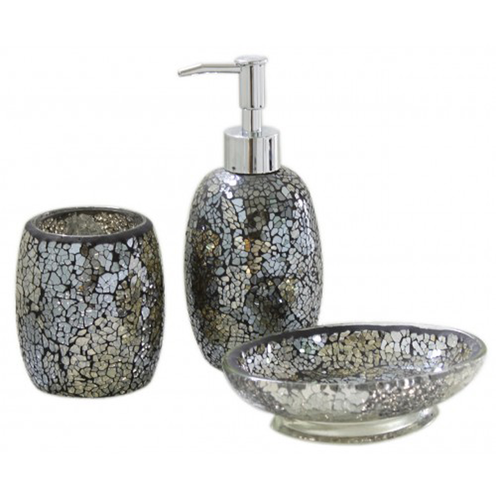 sparkle mosaic bathroom set soap dish dispenser