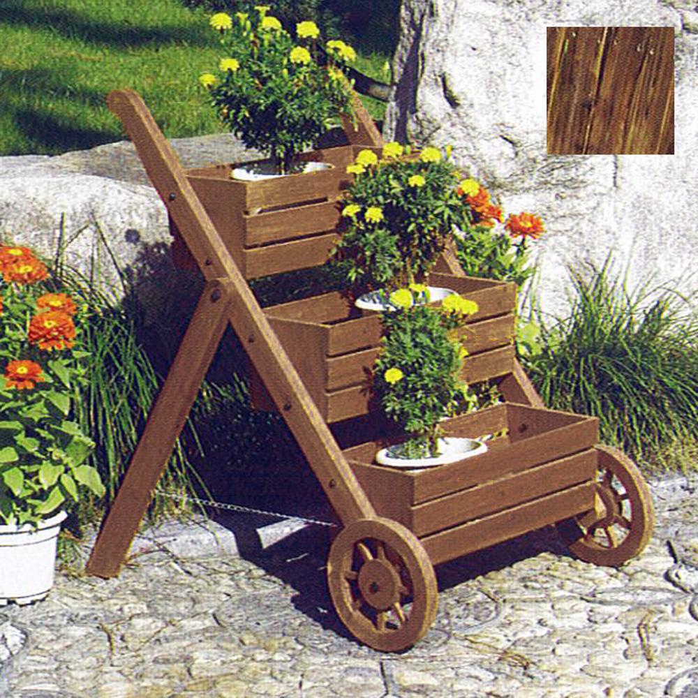 Ladder solid wood garden 3 tier flower planter pot - Decoration jardin palette de bois ...