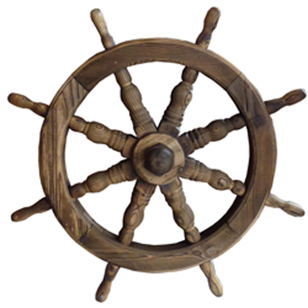 Ships Wheel Solid Wood 53cm Nautical Garden Ornament