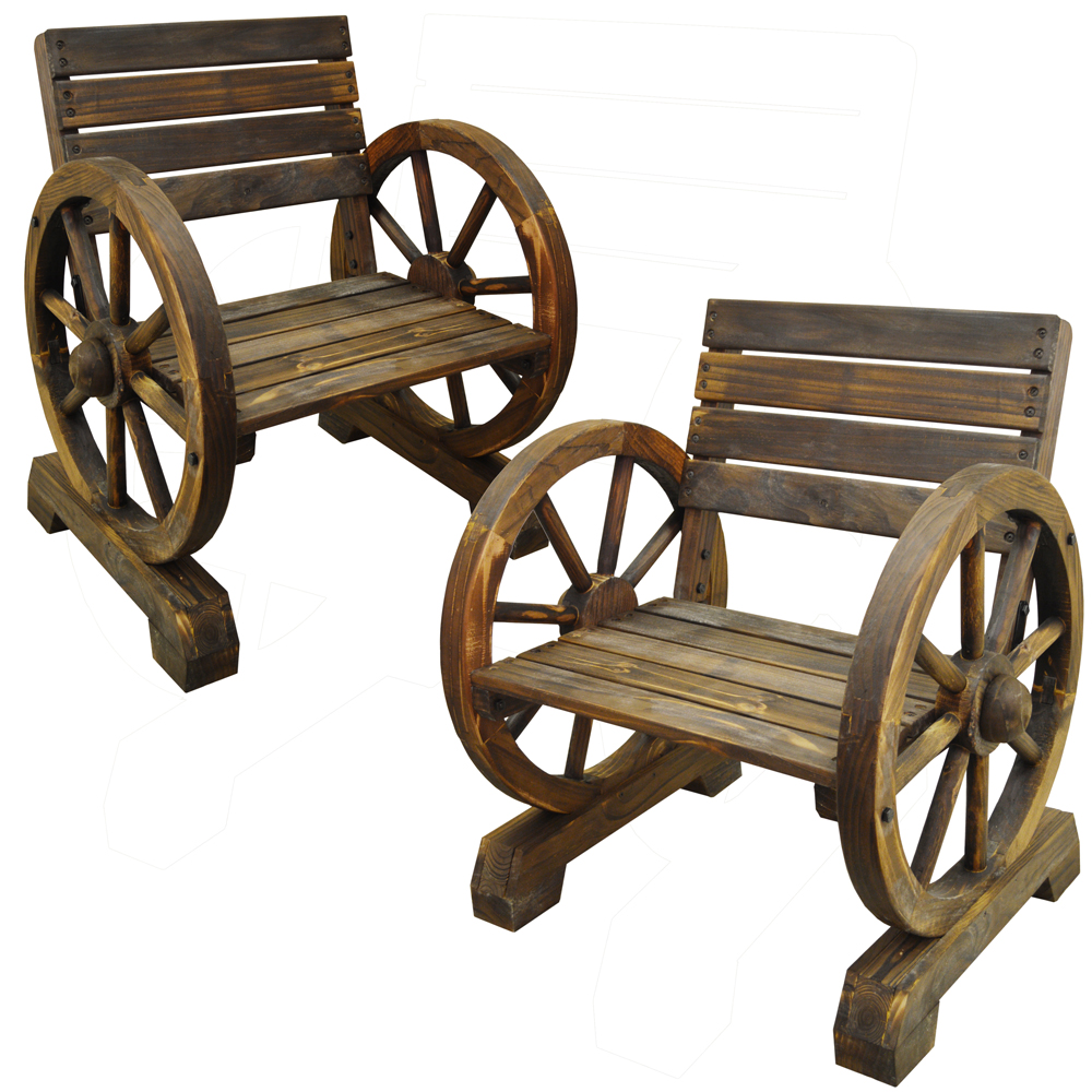 Cartwheel Solid Wood Pair Of Garden Seats Chairs