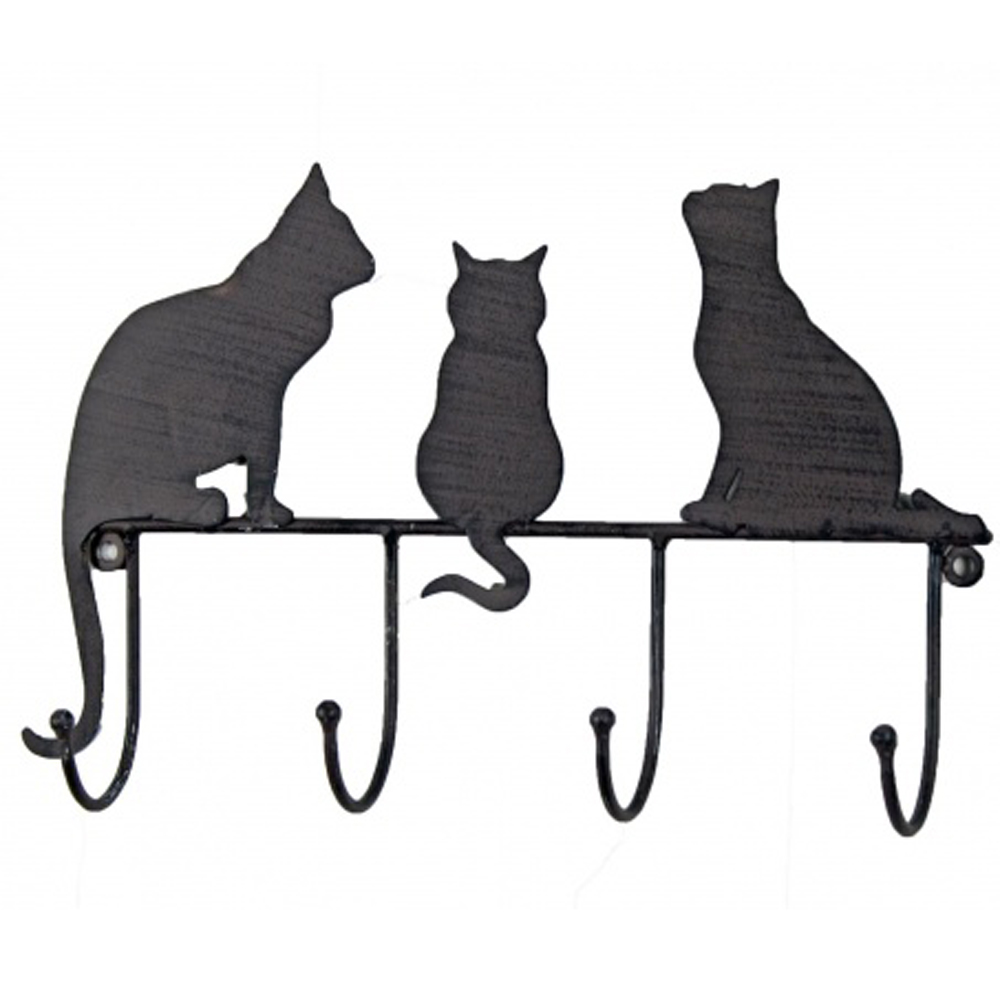 Kitty Metal Cat Themed Wall Mounted 4 Hanging Hooks