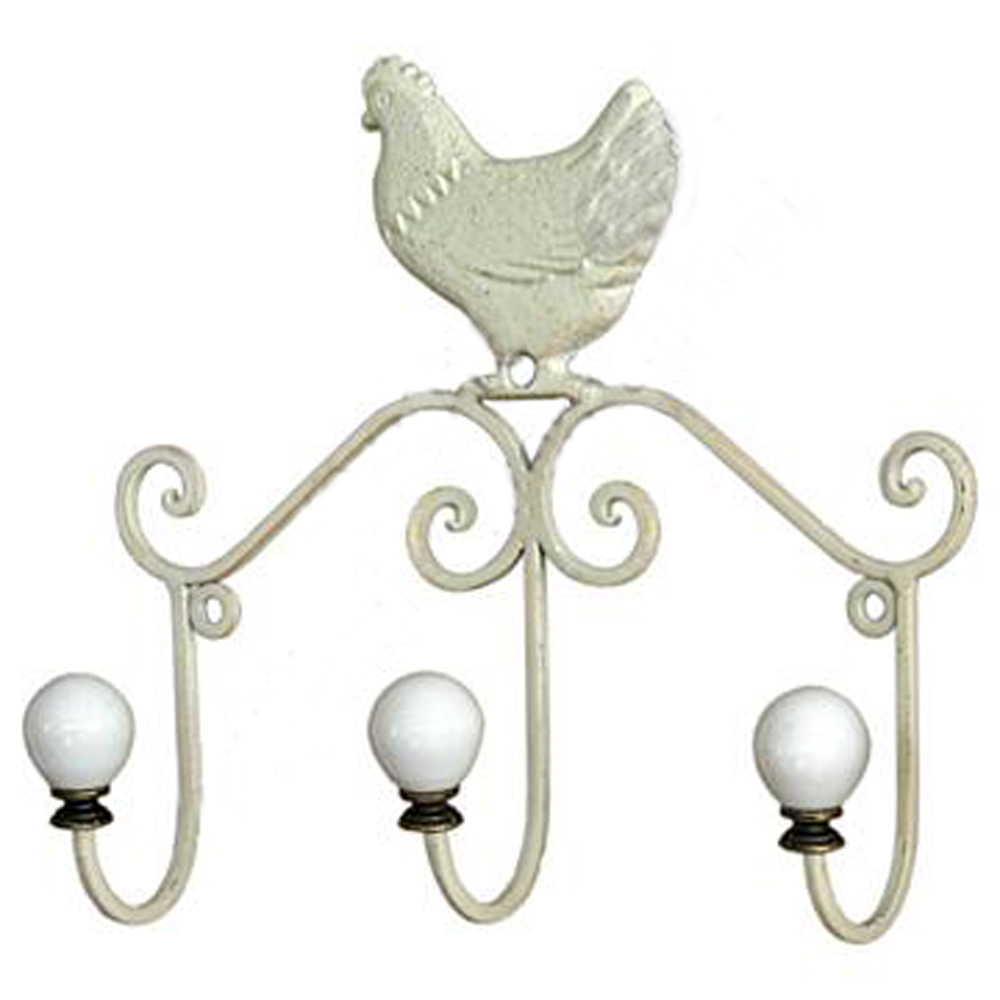 Chicken Wall Mounted Metal 3 Coat Towel Storage Hooks