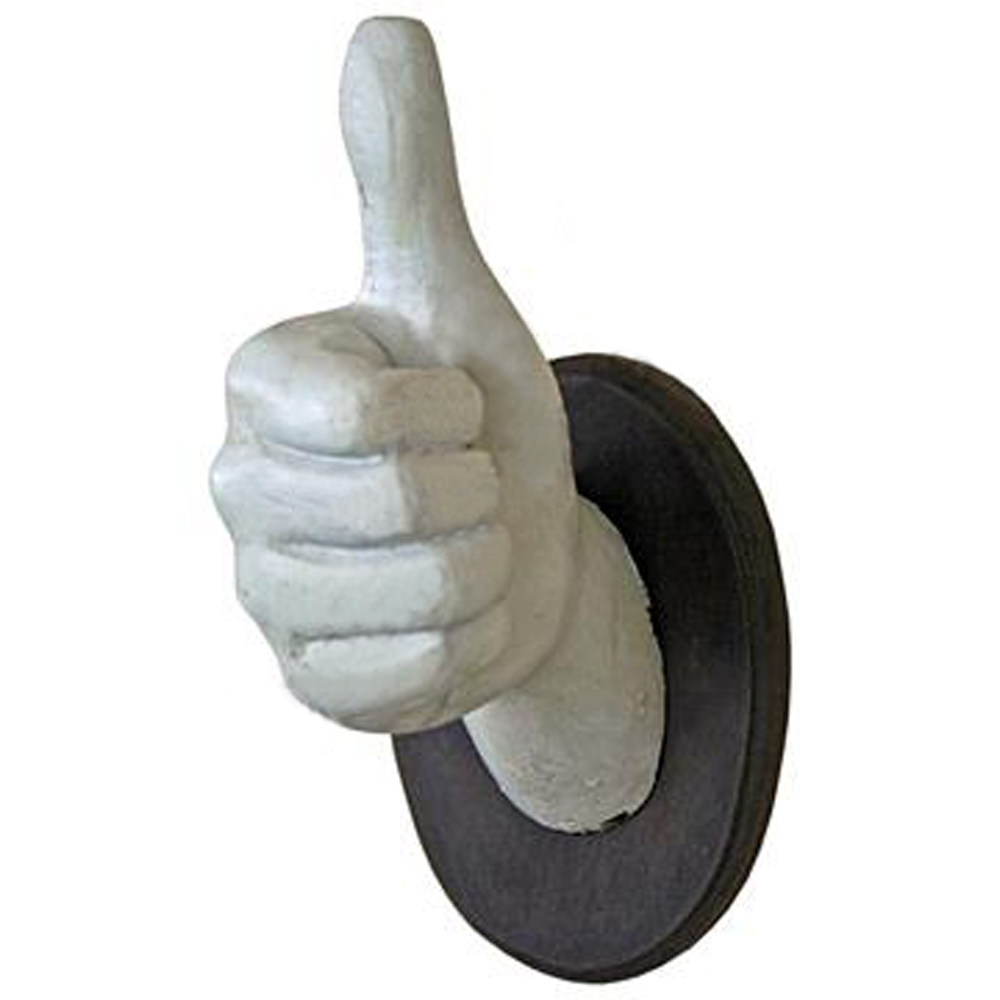 Thumbs Up Wall Mounted Novelty Hand Coat Towel Hook