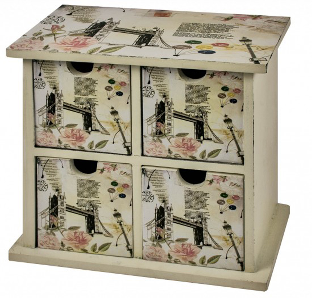 londoni shabby chic mini chest of 4 storage drawers beige black watson 39 s on the web. Black Bedroom Furniture Sets. Home Design Ideas