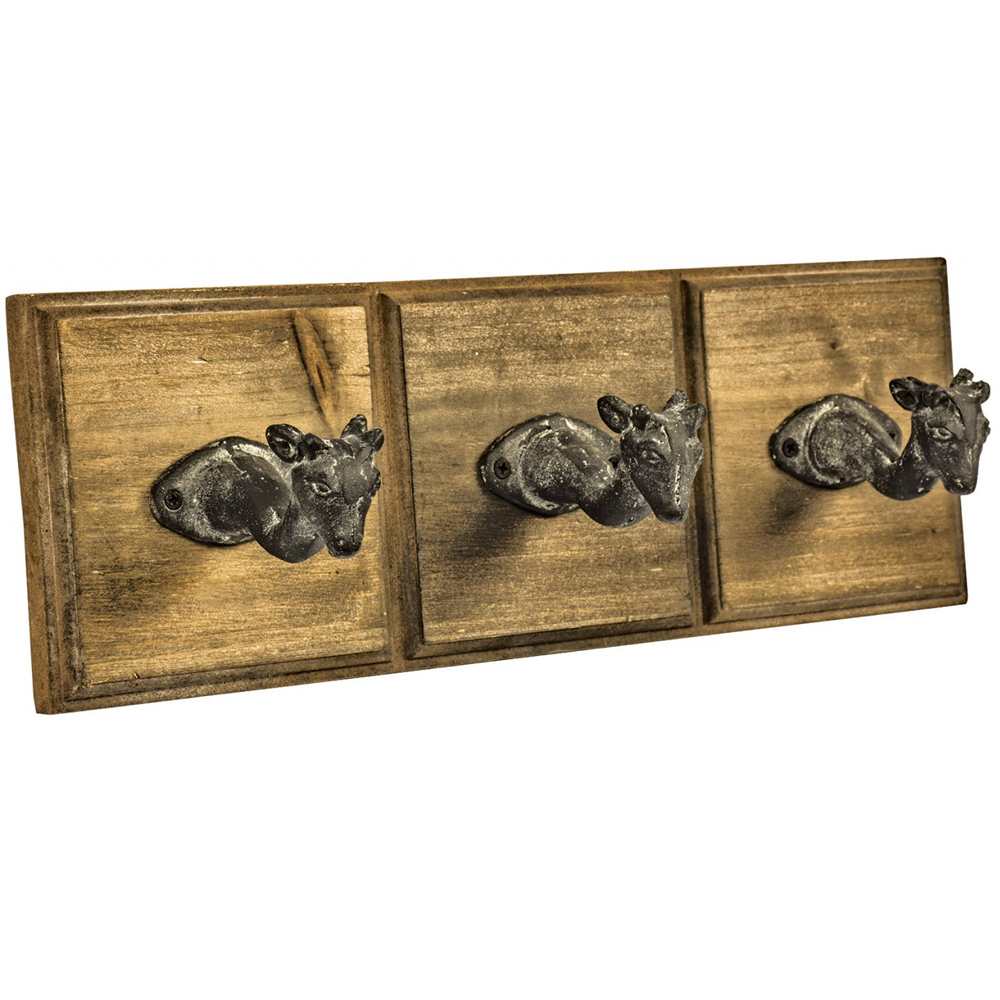 Deer Wood And Metal Wall Mounted Animal Head Coat