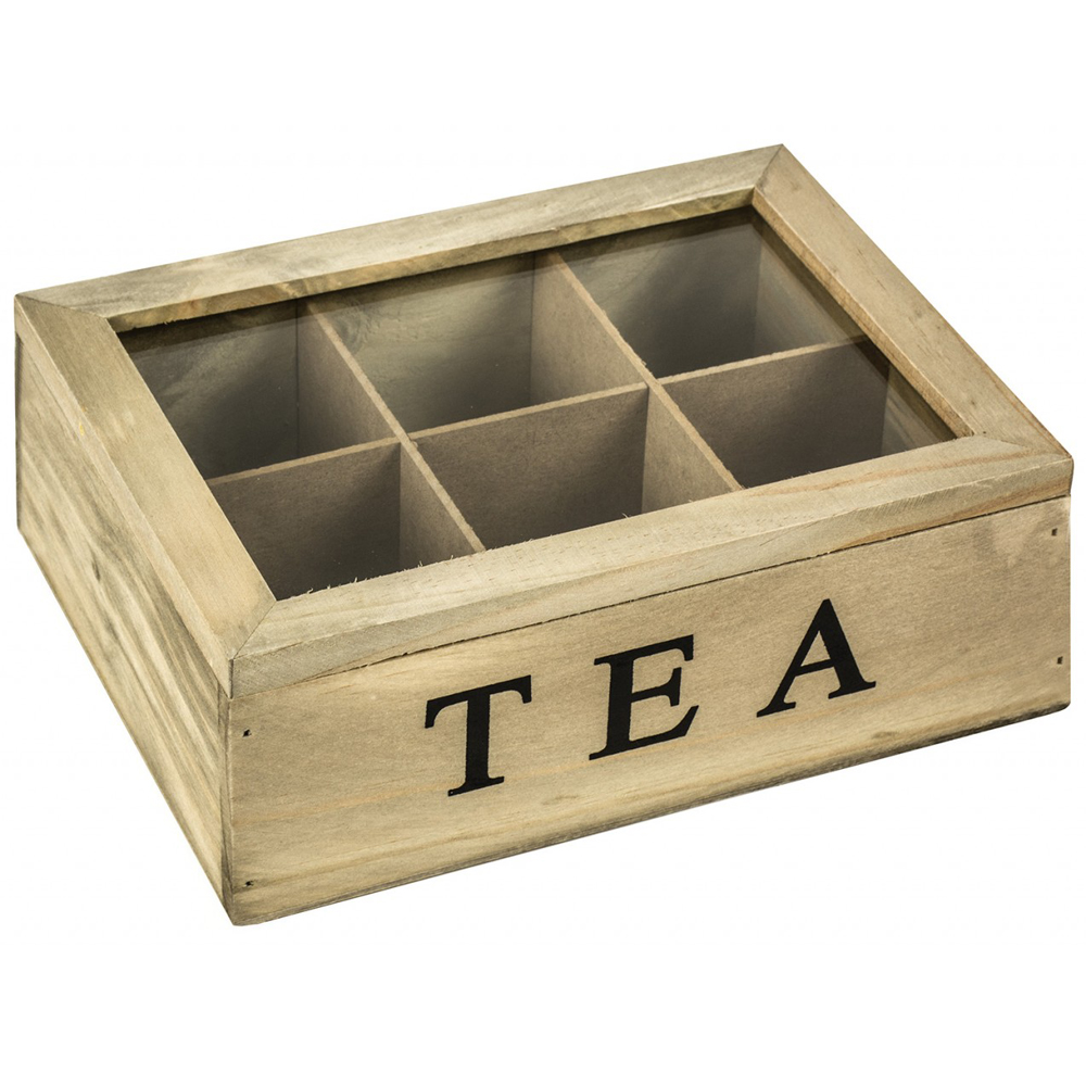 tea solid wood tea storage box with 6 compartments brown black watson 39 s on the web. Black Bedroom Furniture Sets. Home Design Ideas
