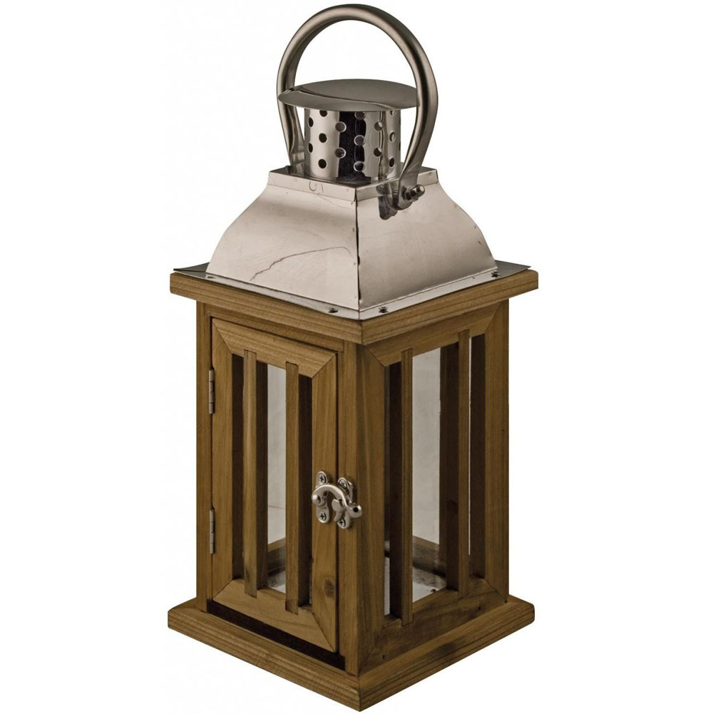 FLORENCE Wood and Chrome Hanging Candle Lantern Brown Silver