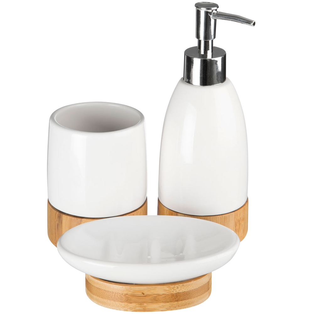 Earth bamboo and ceramic bathroom soap tumbler set for White bathroom tumbler