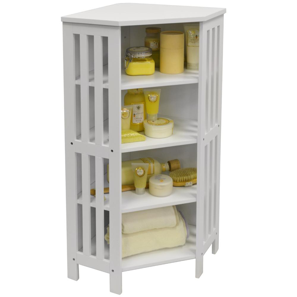 mission shaker bathroom corner storage 4 tier shelf unit white watson 39 s on the web. Black Bedroom Furniture Sets. Home Design Ideas