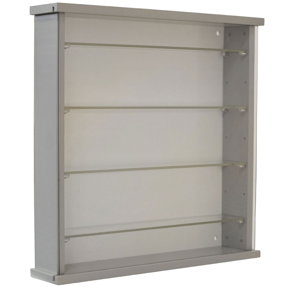 Solid Wood Wall Display Cabinet With 4 Adjustable Glass