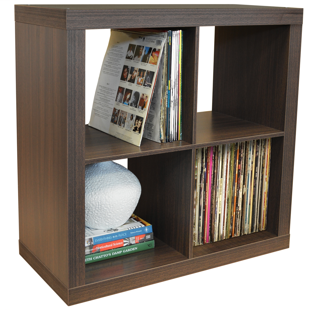 CUBE - 4 Cubby Square Display Shelves / Vinyl LP Record Storage - Walnut