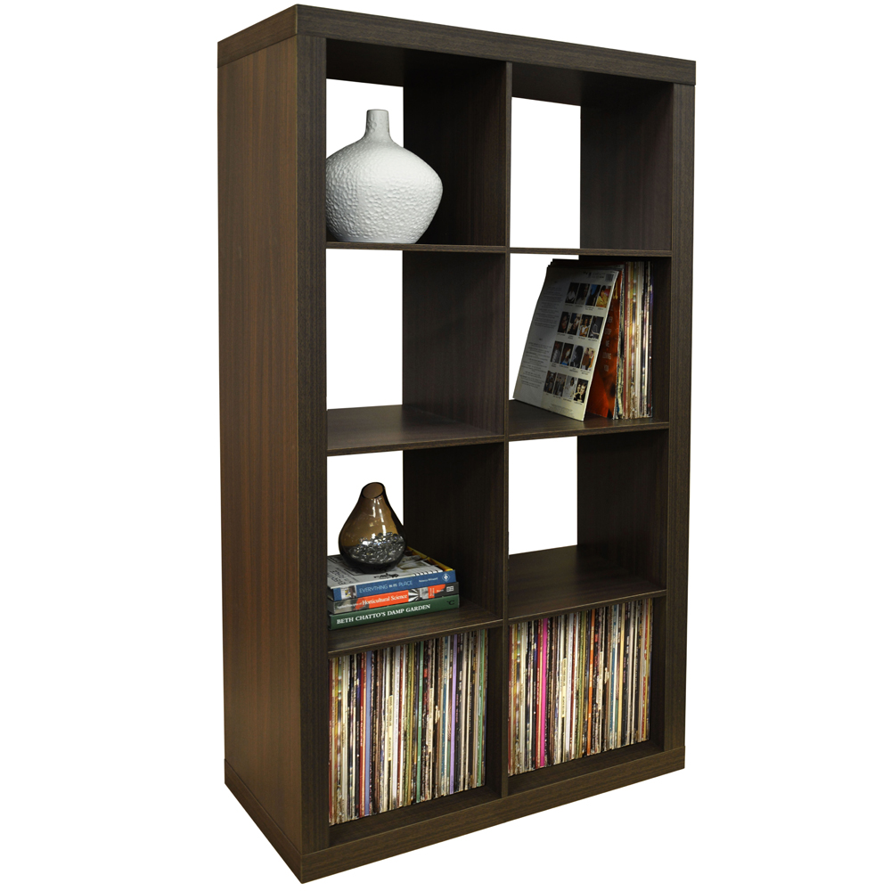CUBE   8 Cubby Square Display Shelves / Vinyl LP Record Storage Tower    Walnut