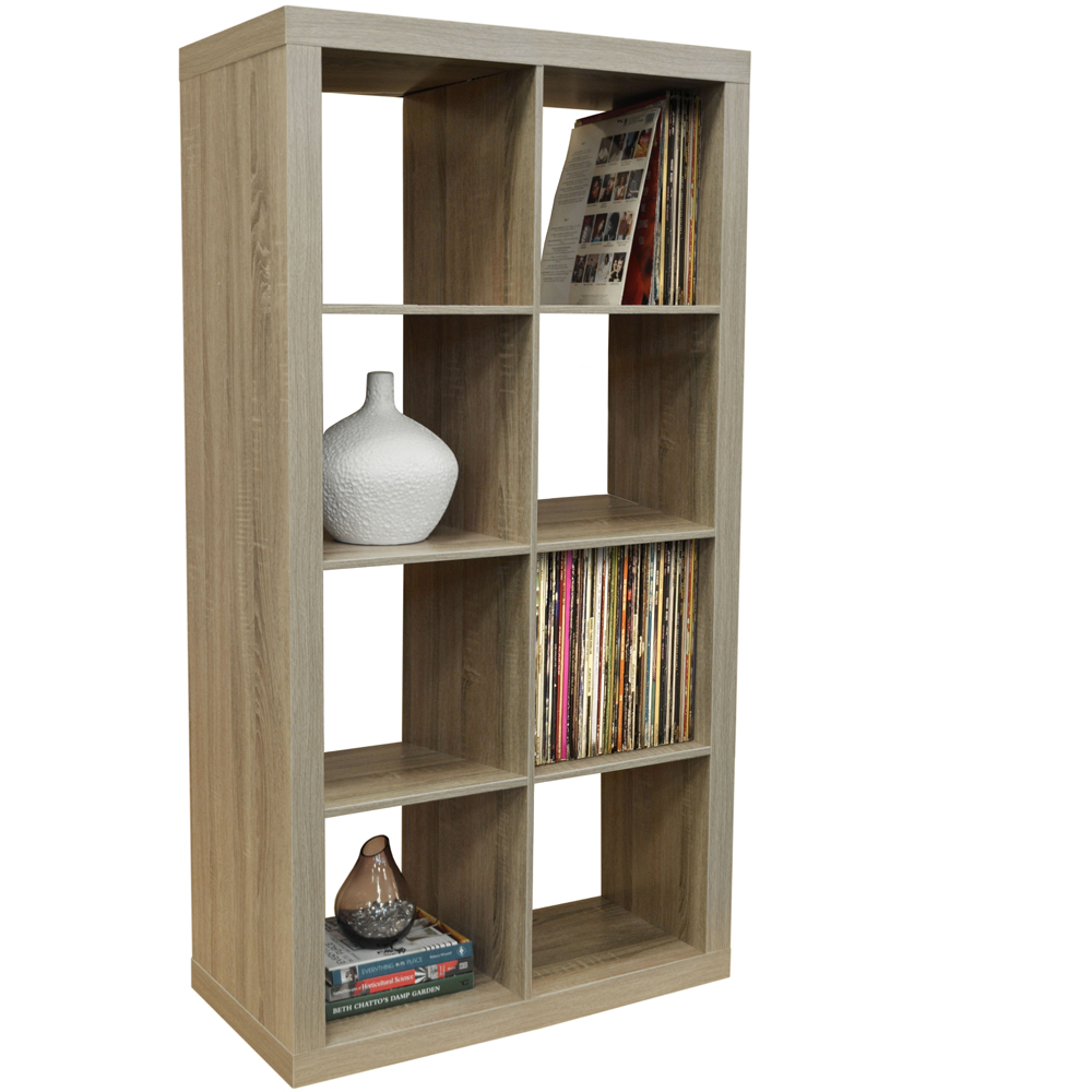 Charmant CUBE   8 Cubby Square Display Shelves / Vinyl LP Record Storage Tower    Limed Oak