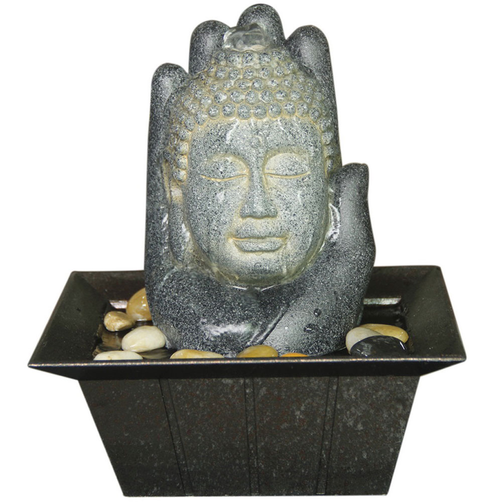 Large Buddha Head Fountain: Buddha And Hand Tabletop Indoor Fountain / Water Feature