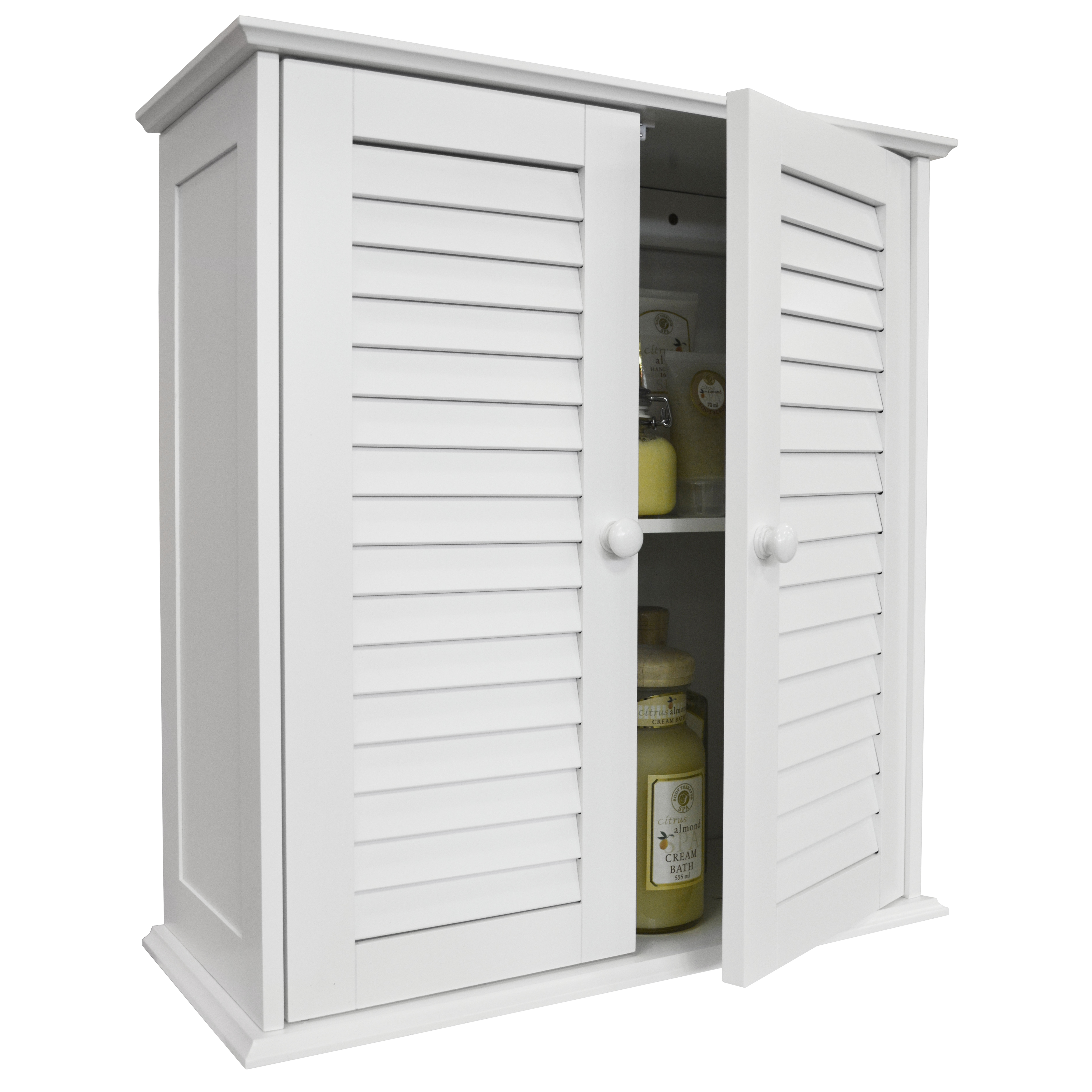 Louvre Double Shutter Door Bathroom Wall Storage Cabinet