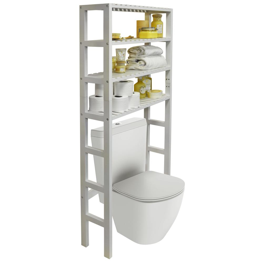 stunning bathroom shelves over toilet storage | HARTLAND - Over Toilet Bathroom Storage Unit with 4 ...