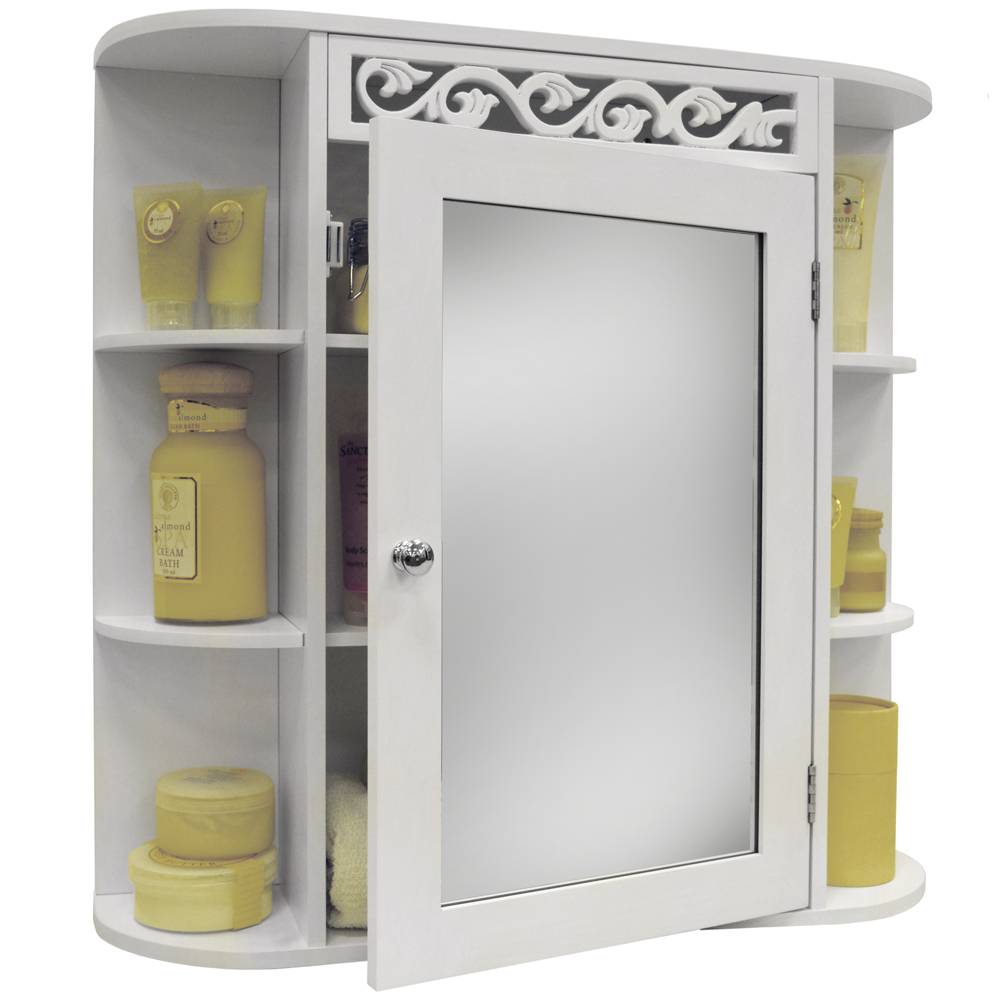 Scroll Wall Mounted Bathroom Mirror Wall Storage Cabinet