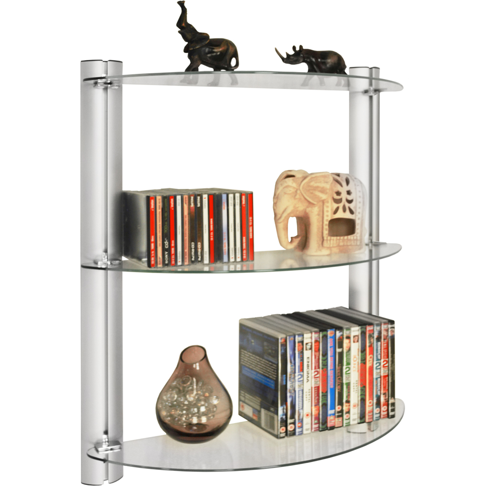 MAXWELL - 3 Tier Glass Wall Storage / Display Shelves / 150 CD / 90 DVD
