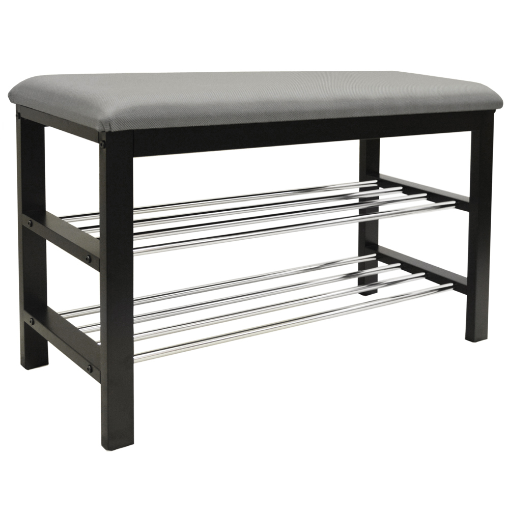 Static 2 Tier Shoe Storage Hallway Bench With Padded