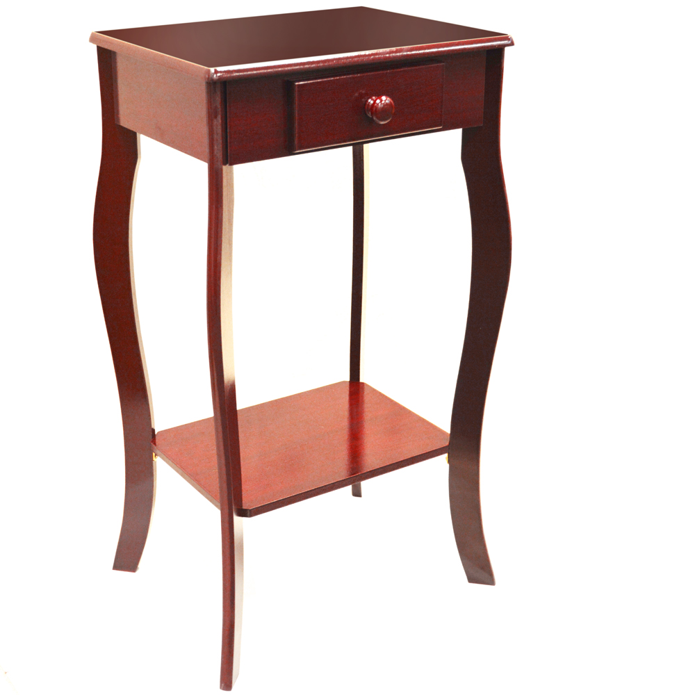 Kadoka wooden telephone end table with storage drawer
