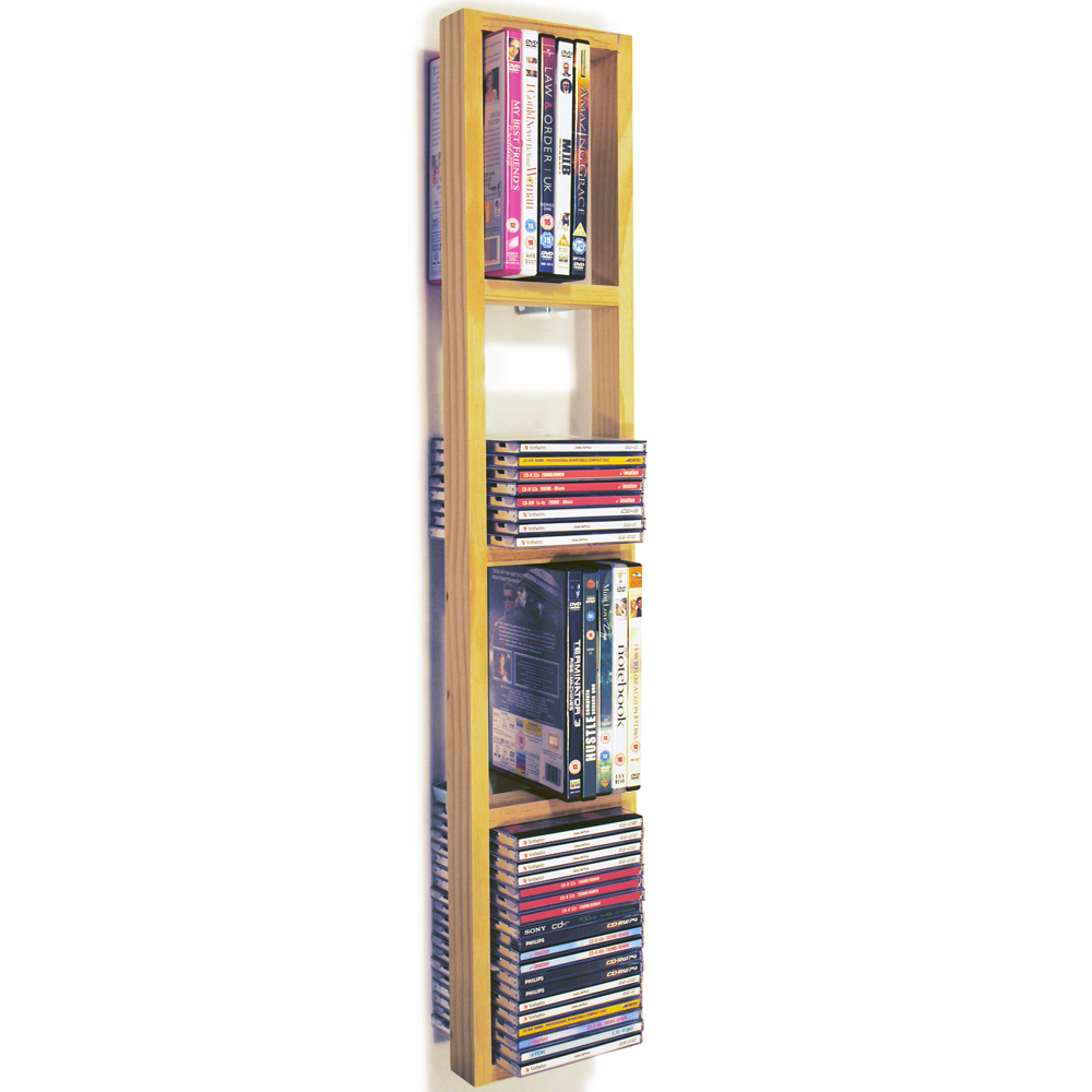 IRIS - Wall Mounted 76 CD / 32 DVD / Blu ray Storage Frame Shelf - Natural