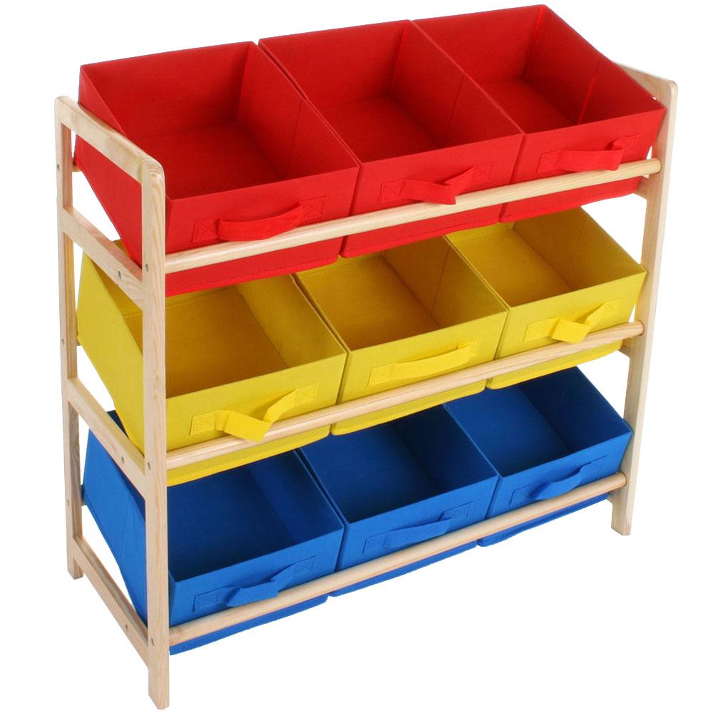 Childrens Kids 3 Tier Toy Bedroom Storage Shelf Unit 8: Childrens Wood Multi-coloured 3 Tier Storage 9 Box
