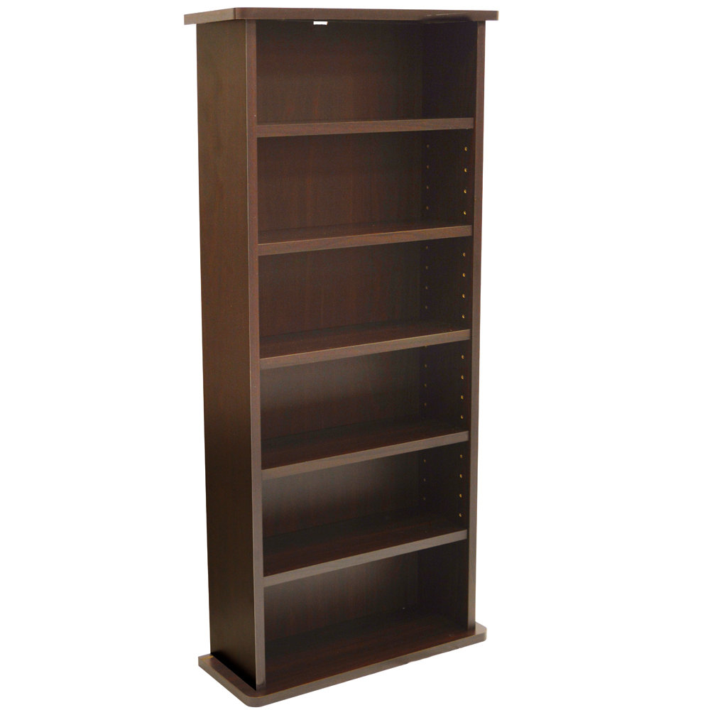 CHAK - 222 CD or 104 DVD Blu-ray Media Storage 6 Shelf Unit - Dark Oak