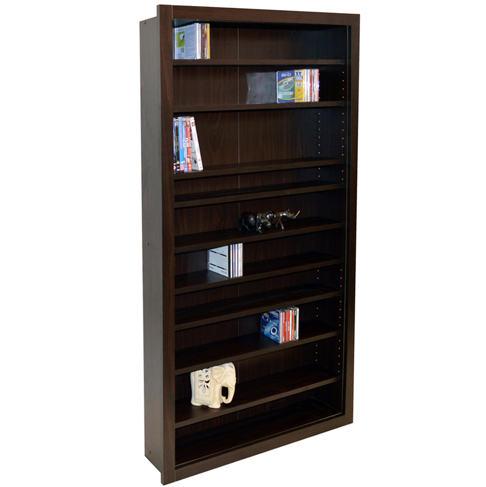 BALTIMORE - Large 730 CD / 300 DVD / Blu-ray / Media Storage Shelves - Walnut