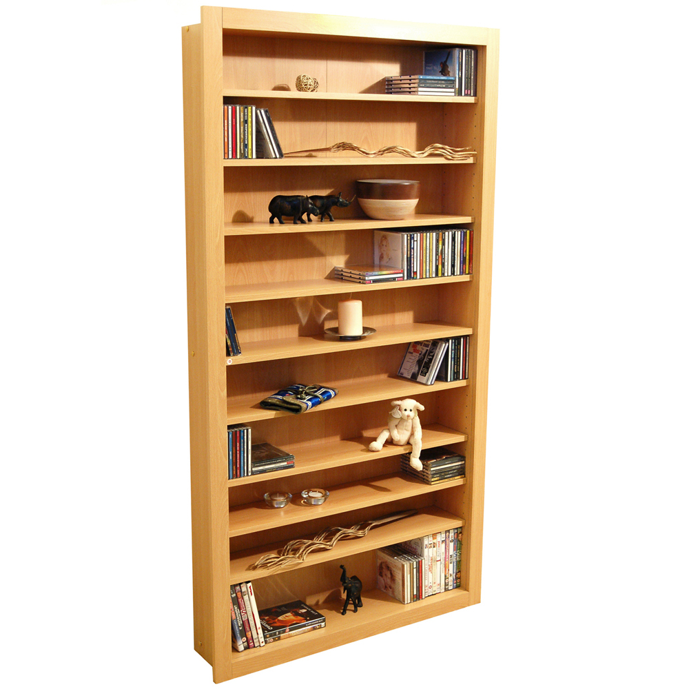 BALTIMORE - Large 730 CD / 300 DVD / Blu-ray / Media Storage Shelves - Beech