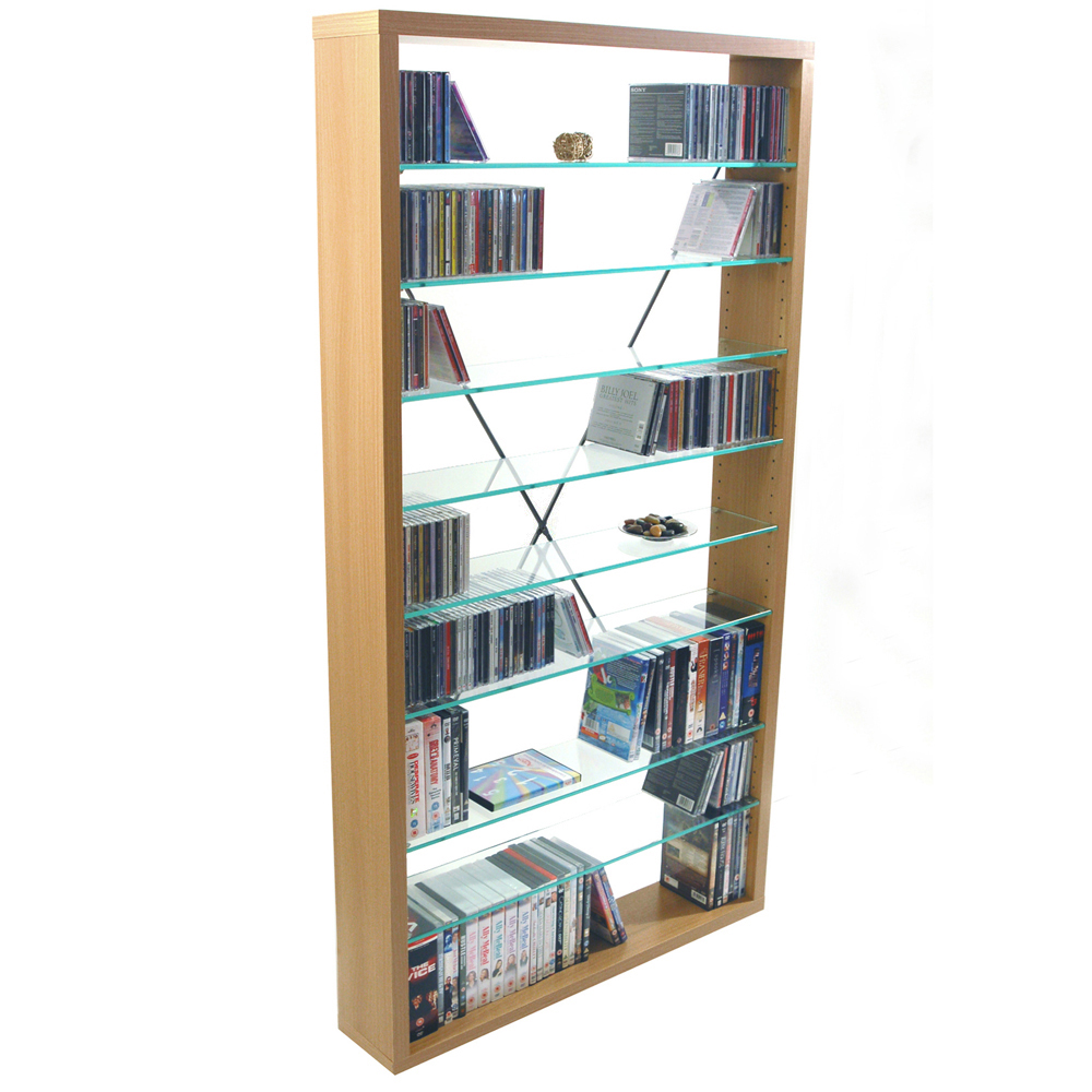 ARIZONA - 760 CD / 350 DVD / Blu-ray / Media Glass Storage Shelves - Beech