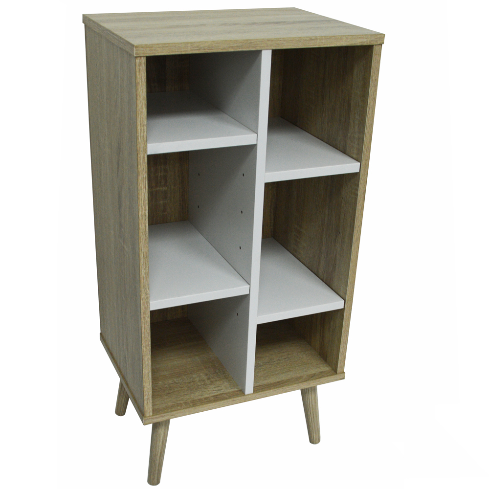 WATSONS - Storage End Table / Display Unit With Interior Shelves - Oak / White