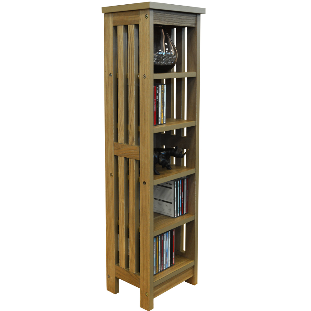 MISSION - Wooden 5 Tier 95 CD / Media Storage Shelves - Natural