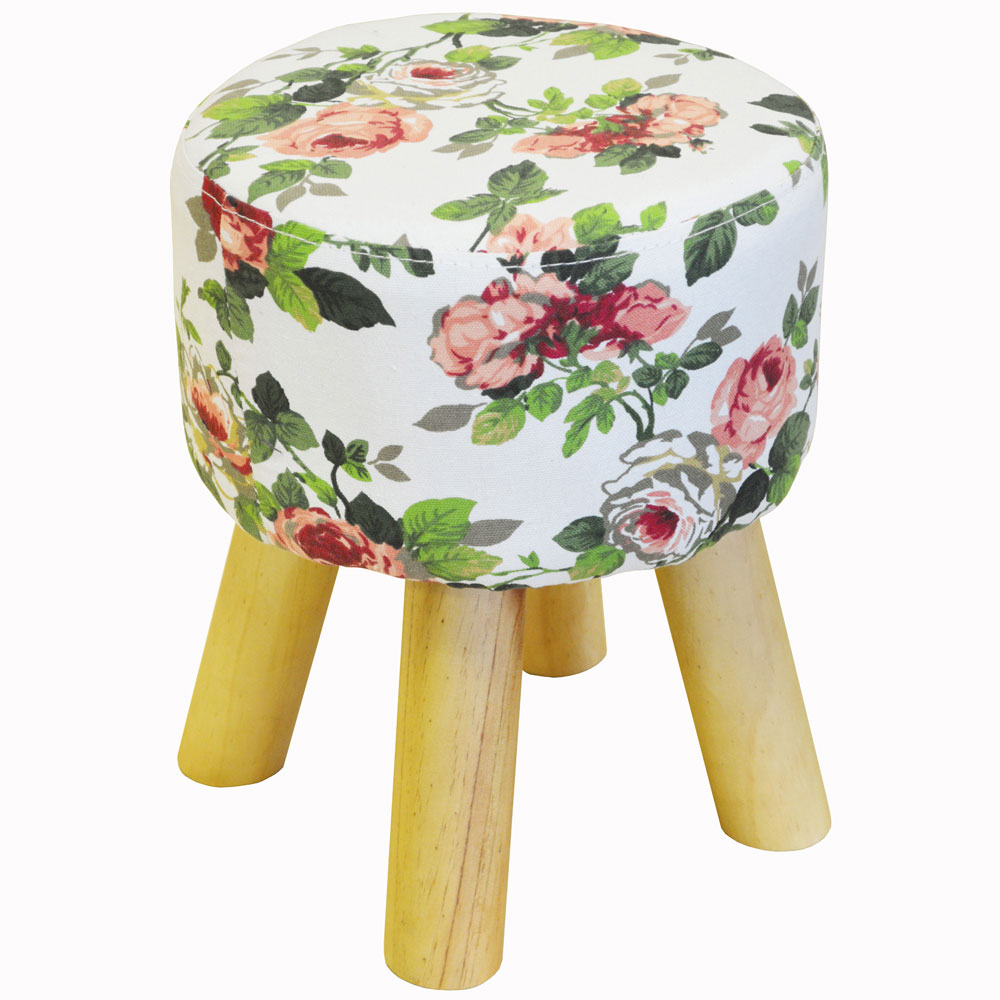 FLORAL - Rose Patterned Upholstered Stool with Wood Legs - White / Pink / Green