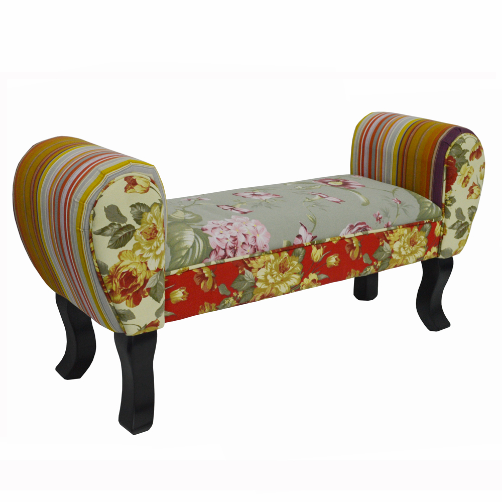 ROSES - Shabby Chic Chaise Pouffe Stool / Wood Legs - Multi-coloured