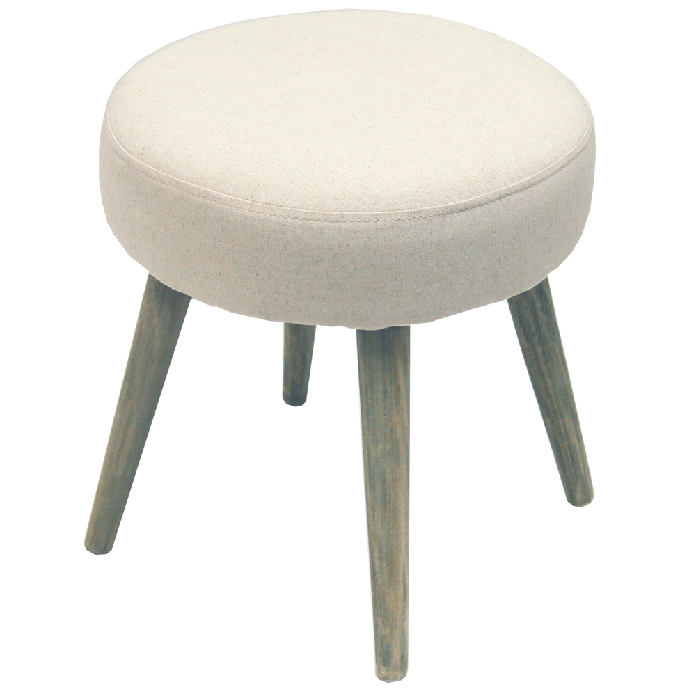 Twill Retro Scandi Fabric Padded Dressing Stool With
