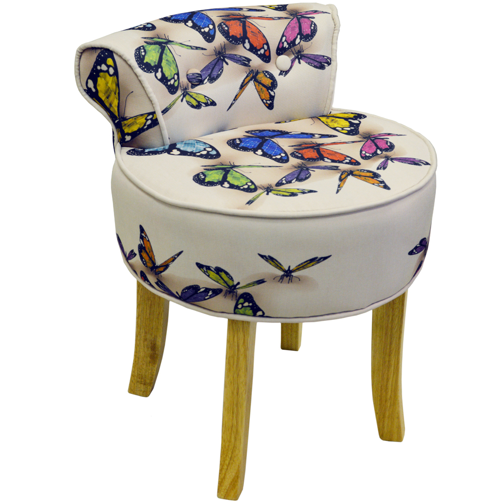 Butterfly Stool Low Back Padded Chair With Wood Legs