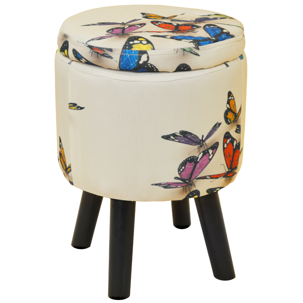Butterfly Contemporary Retro Round Padded Storage Stool