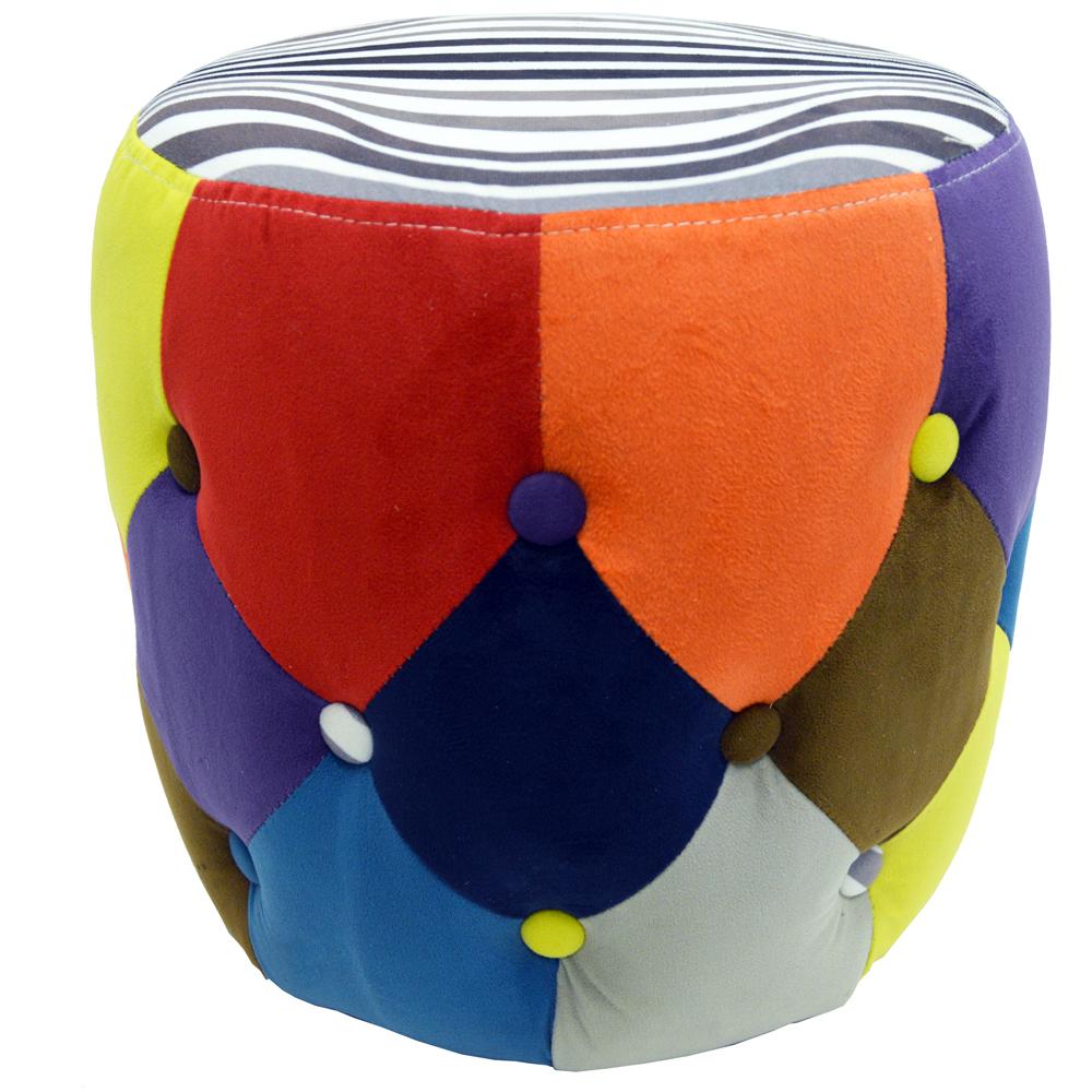 Soleil Circular Drum Stool Padded Pouffe Seat Multi