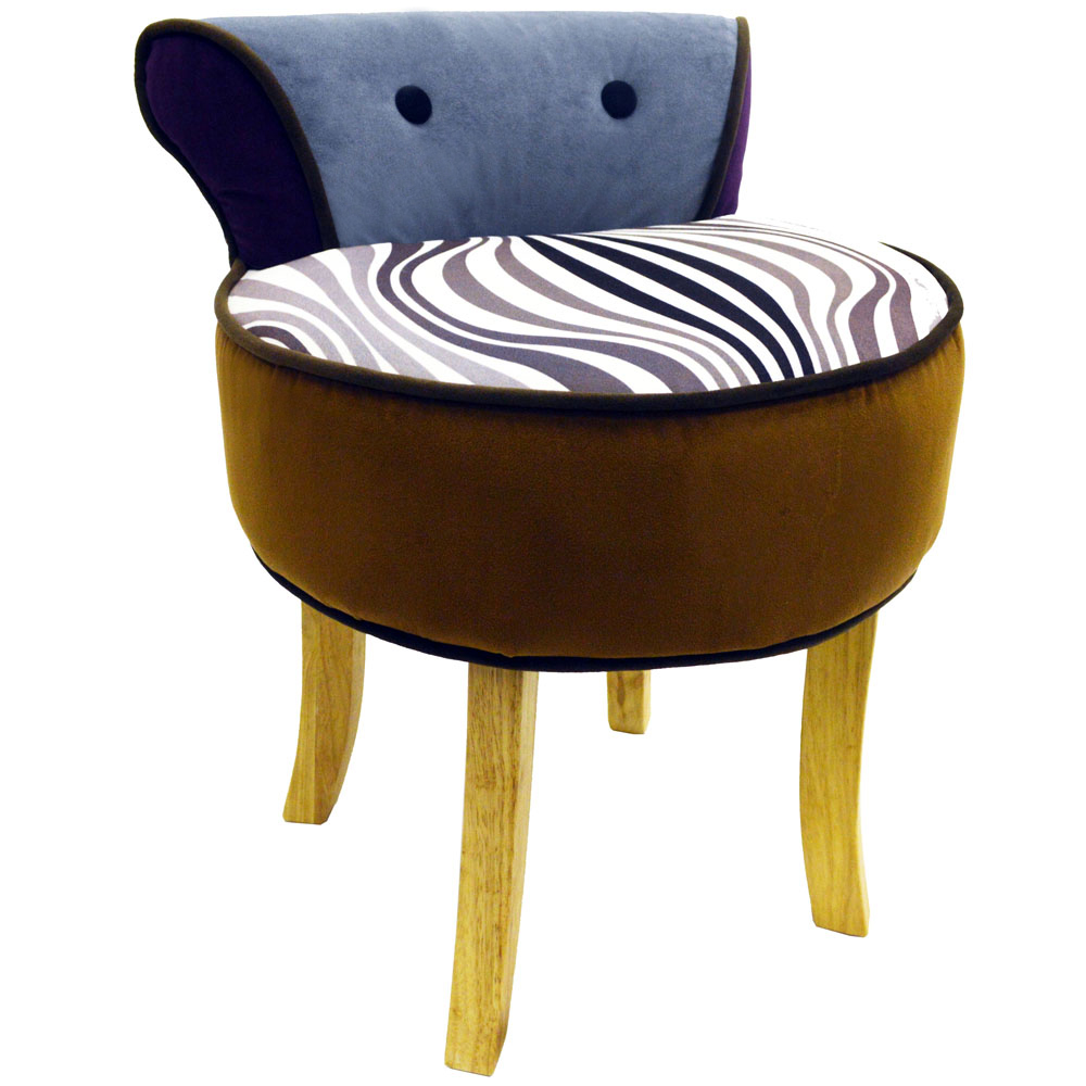 Wilde Stool Low Back Padded Chair With Wood Legs