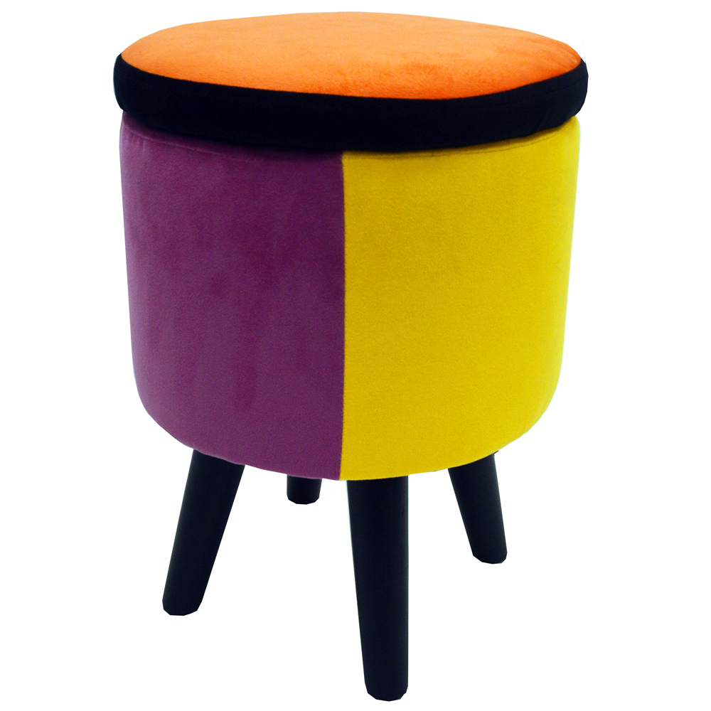 Soleil Contemporary Retro Round Padded Storage Stool